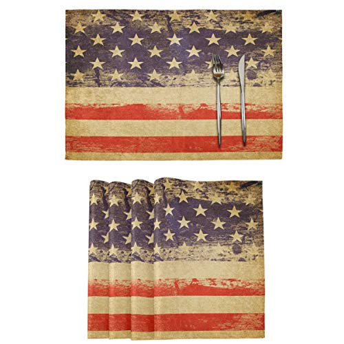 Wamika Vintage American Flag Placemats Set of 4 Memorial Day Table Mats 4th of July Burlap Placemat Grunge Washable Non-Slip Heat Resistant Place Mats for Party Kitchen Dining Decorations 12 X 18 in