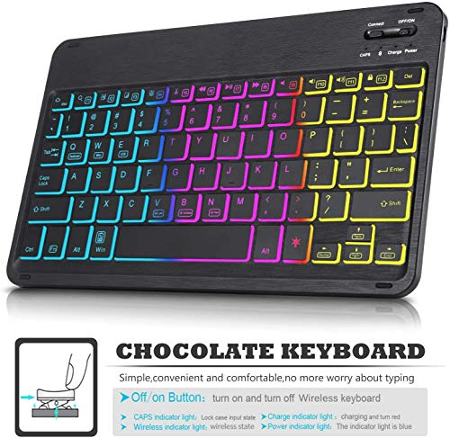 ELTD Tastatur Hülle für Samsung Galaxy Tab S6 Lite (Deutsches QWERTZ),Hülle mit 7 Farben LED-Hintergrundbeleuchtung Kabellose Tastatur für Samsung Galaxy Tab S6 Lite 10,4 Zoll (Blau)