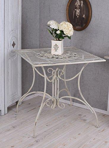 Nostalgie Gartentisch viereckig Tisch Weiss Shabby Chic Metalltisch