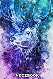 Notebook: Blue And Pink Light Deer In Digital Watercolor Painting , Journal for Writing, College Ruled Size 6' x 9', 110 Pages