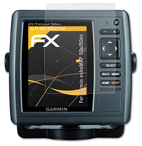 atFoliX Película Protectora Compatible con Garmin echoMAP 50s/50dv Lámina Protectora de Pantalla, antirreflejos y amortiguadores FX Protector Película (3X)