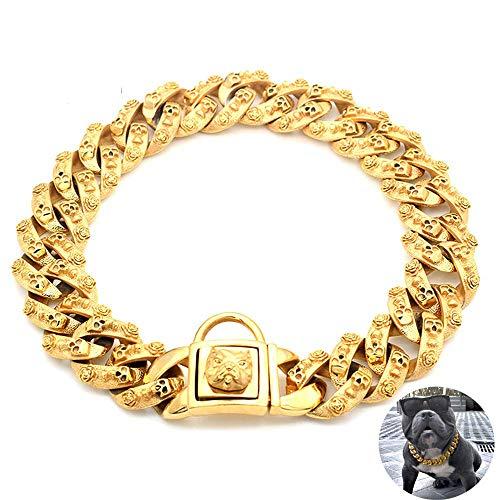 DUPFY 32MM breites goldenes Hundehalsband, 316L Hochleistungs-Hundehalsband aus Edelstahl mit Hundekopfschloss-Trainingshalsband für große/mittlere Hunde 40cm