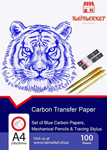 Raimarket 100 Carbon Transfer Paper Blue with 2 Mechanical Pencils & 1 Embossing Stylus Set for Wood Copy, Tracing, Craft and Embroidery | Premium Quality Graphite and Tracing Paper