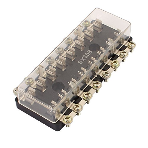 uxcell BX308 DC32V 6mmx 30mm Glass Tube 8 Ways Terminals Circuit Fuse Box