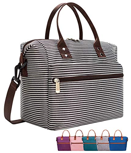 Leakproof Insulated Lunch Tote Bag with Adjustable & Removable Shoulder Strap, Durable Reusable lunch Box Container for Women/Men/Kids/Picnic/Work/School-White Stripe