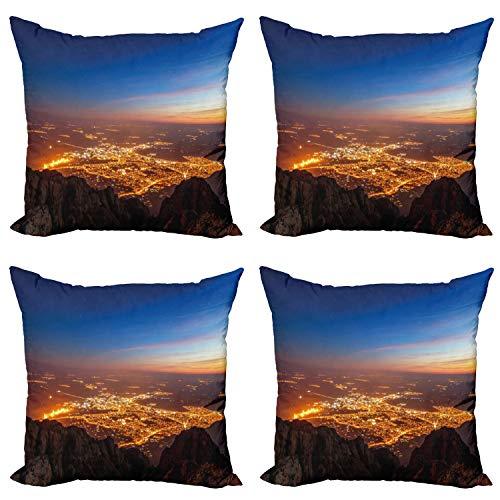 ABAKUHAUS Paisaje Set de 4 Fundas para Cojín, crepúsculo City, Estampado Digital en Ambos Lados y Cremallera, 40 cm x 40 cm, Marrón Naranja Azul