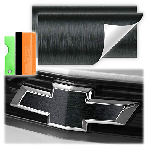 Free Tool Kit 2Pcs 5'x10' Chevy Emblem Bowtie Black Brushed Aluminum Vinyl Wrap Sticker Decal Film Overlay Sheet