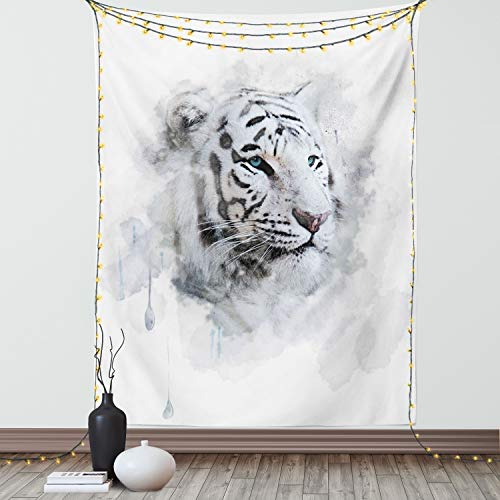 Ambesonne Animal Tapestry, Portrait of a White Tiger Wild Nature Predator Watercolor Splashes, Wall Hanging for Bedroom Living Room Dorm Decor, 40' X 60', White Black
