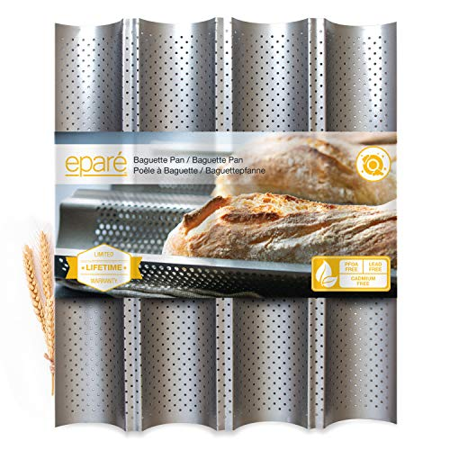 Baguette Pan for Baking - 15' x 13' Nonstick Perforated Italian Loaf Mold - Long French Bread Baker's Tray - Sourdough Roll Proof & Bake Rack by Eparé