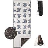 ZZ Power Workout Mat,Elefantes Divertidos Durables Lavables Alfombrillas De Entrenamiento Grandes para Meditación Yoga Fitness