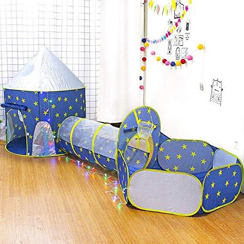Túneles y tienda de campaña para niños, tienda de campaña con temática de cohetes, tienda de juego, tienda de campaña espacial, plegable, tienda de campaña de juego para niños y niñas