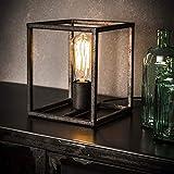 famlights Tischleuchte Saskia aus Metall in Silber eckig, 1-Flammig, E27, Industrial Design   edle Tischlampe für Wohnzimmer Schlafzimmer   Designerleuchte Würfel Nachttischlampe   Stehleuchte Vintage
