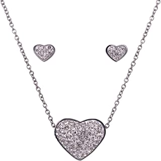 Bevilles Stainless Steel Crystal Heart Necklace & Earrings Set