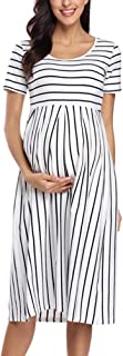 Women's Casual Striped Maternity Dress Short&3/4 Sleeve Knee Length Pregnancy Clothes for Baby Shower