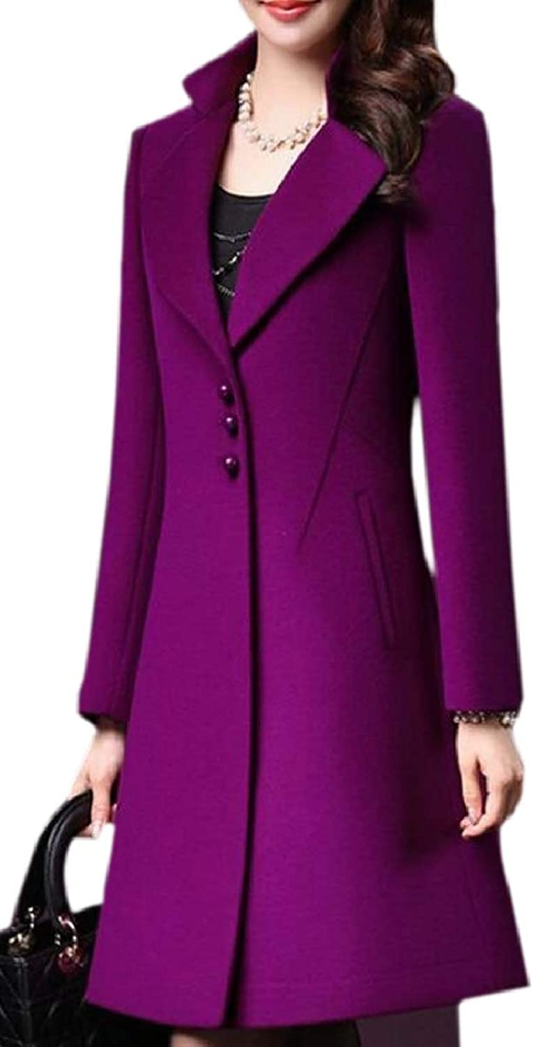 CBTLVSN Women's Elegant Slim Thicken Single Breasted Wool Blend Pea Coat