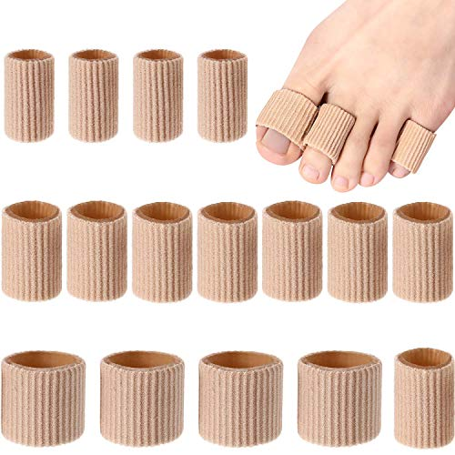 Toe Cushion Tube Toe Tubes Sleeves Soft Gel Corn Pad Protectors for Cushions Corns, Blisters, Calluses, Toes and Fingers (Mixed Size Toe Cushion Tube, 16 Pieces)