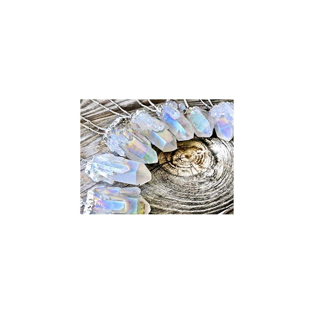 Raw Angel Aura Quartz Necklace Silver Plated