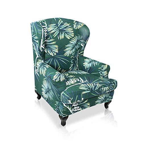 VanderHOME Sofabezug Ohrensessel husse ohrensessel bezug 1 Sitzer Stretch und antirutsch Sesselhusse Stretch sesselhussen Sessel bezug husse für ohrensessel Grün