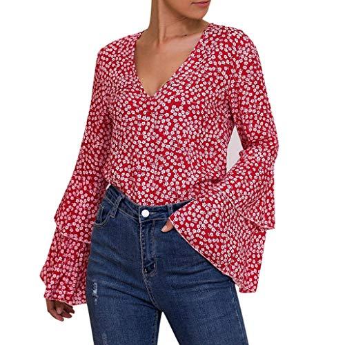 Luckycat Casual de Mujer Solid Camisa Manga Larga Blusa Camisas con Volantes Camisa Elegante para Mujer Mangas Largas y Cuello V Blusa Ligera Mangas Acampanadas para Mujer