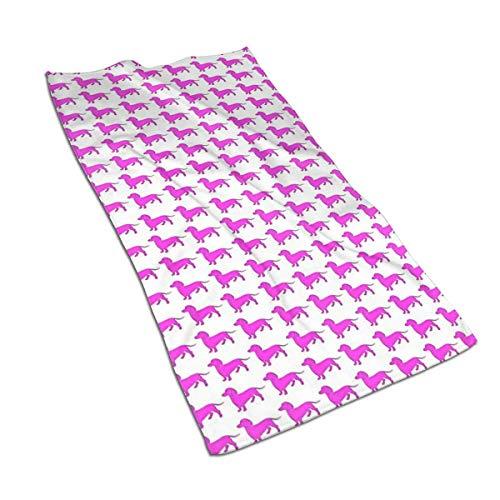 antoipyns Weiner Dog Pink Dackel Toallas De Microfibra Supersuave, Absorbente, Toalla Multiusos para Ba?o, Gimnasio Y Spa, 27,5 x 15,7 cm Pulgadas