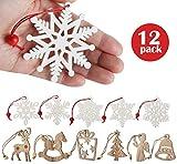Lemonfilter 12pcs Adornos de Madera Forma Copo de Nieve Decoración Navidad Adorno Colgante para Navidad Hogar Estrellas Navidad árbol de Fiesta decoración
