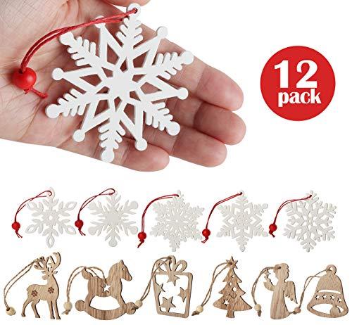 12pcs Natale Legno Ornamenti flocchi di nevelegno Decorazioni Abbellimenti di Legno Albero di Natale...