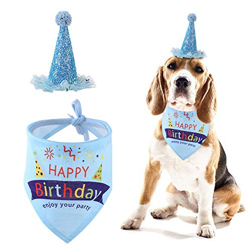 THETAG Hunde-Geburtstags-Halstuch, dreieckige Schals, Geburtstagsparty-Hut für Hunde, Welpen, Geburtstagsparty-Zubehör, Geschenk und Party-Dekoration, Set (blau)