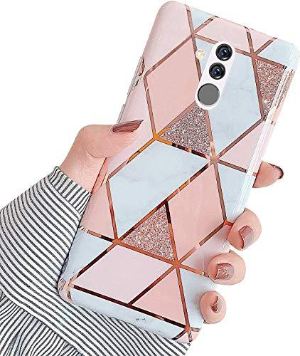 Saceebe Compatible avec Huawei Mate 20 Lite Coque Silicone Motif Dessin Marbre Housse Étui de Protection Girly TPU Gel Souple Lustré Antichoc Ultra Fi