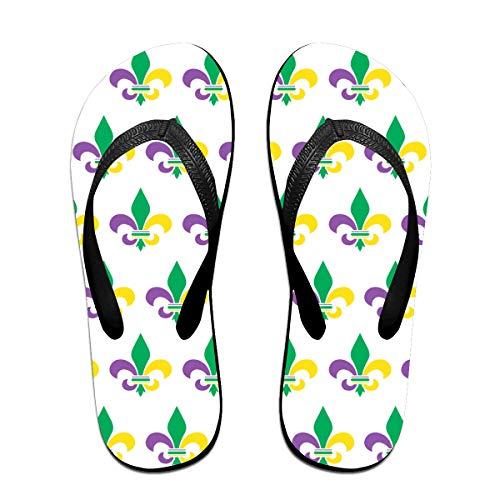 Iop 90p Mardi Gras Fleur De Lis Flip Flops Slippers Strand Sandalen Pool Schuhe, PVC, Schwarz, M