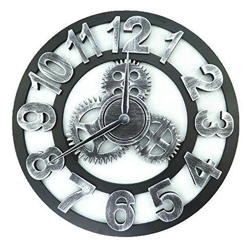 HWYJ El Tiempo es Correcto Grande clásico Vintage Pared Reloj de Pared Retro Engranaje Colgante Reloj Romano Numeral Horologe Europeo Estilo decoración Sala de Estar Reloj de Pared