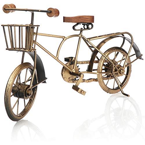 com-four® Bicicleta Decorativa - Modelo de Bicicleta de Metal - Vehículo de colección de época - Bicicleta Decorativa para exponer y Regalar (Dorado con Canasta)