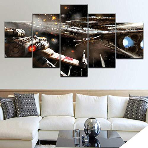 13Tdfc Bilder 150X80Cm Vlies Leinwandbild 5 TLG Kunstdruck Modern Wandbilder XXL Wanddekor Design Wand Bild -Star Wars Darth Vader Sith Sturmtruppler Jedi - Kunstdruck XXL 5 Teilig