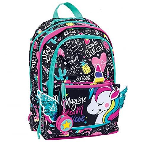 Gopop Zaino Scuola Miss Unicorno Estensibile a 3 Zip 43x31x17(+9) cm