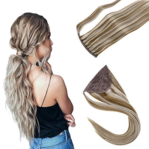 LaaVoo 12inch Clip in Ponytail Extension Wrap Around Pony Tail Human Hair Short Wrap Pony Tail Real Balayage Color Highlight Ash Brown Mixed Light Blonde Straight Brazilian One Piece Hair 70g