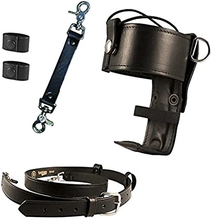 Boston Leather Anti-Sway Strap For Firefighter/'s Radio Strap Leather Brass Clip