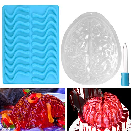 BESTONZON 2 Pack Halloween Gehirn Puddingform und Silikon Wurm Schimmel Backform Party Dekoration