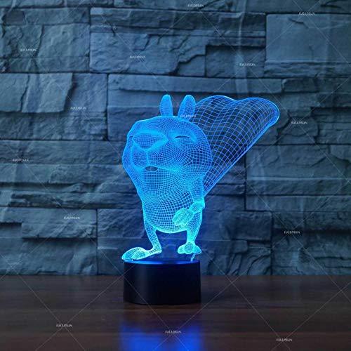 Diseño de arte único animal salvaje 3d led luz nocturna ambiente colorido regalo decoración luminosa luz visual regalo 3D lámpara de mesa pequeña
