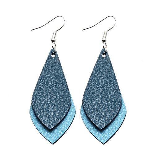 Miweel - Pendientes de gota de piel con hojas de capa, diseño antiguo hecho a mano, joyería única para mujeres y niñas