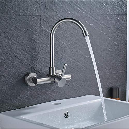 Waterkraan enkele handgreep flexibele slang keukenkraan wandmontage 360 graden draaibaar badkamer keukenmengkraan hete en koude kraan