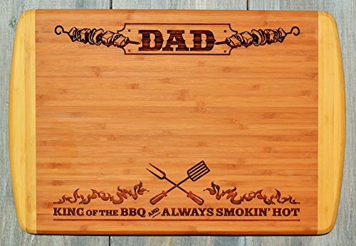 GIFT DAD FATHER ~ Engraved Large 2-Tone Bamboo Cutting Board for Dad ~ 2-Sided Design ~ Engraved Side Designed For Display ~ Reverse Side For Usage ~ Birthday Gift Dad Christmas Gift Fathers Day Gift