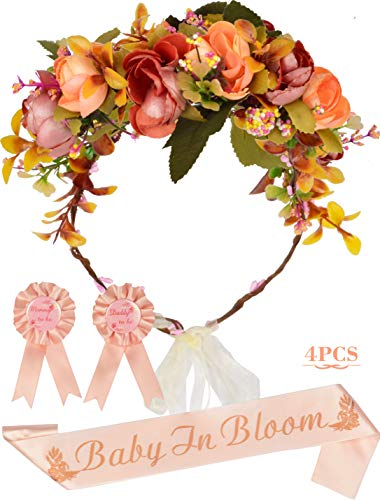 Baby in Bloom, Mother To Be Flower Crown Blush Peach, Baby in Bloom, Mom To Be Sash and Mommy to be Pin, Dad To Be Pin, Baby Shower Party Favors Decorations Gift for Girl