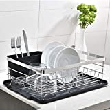 POPILION Quality Kitchen Sink Side Draining Dish Drying Rack,Dish Rack with Black Drainboard