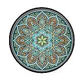 Mnsruu Boho Mandala türkis rund Bereich Teppich für Wohnzimmer Schlafzimmer 3' Durchmesser (92 cm) - 3