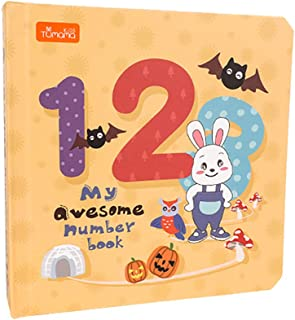 tumama Baby Number Book Counting 1-20 Animals Colors Book for Toddler Safe Material Baby Gifts