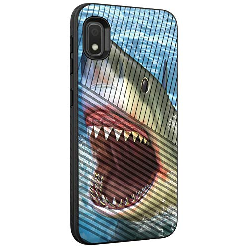 TurtleArmor | Compatible with Samsung Galaxy A10e Case | Galaxy A20e Case | Shockproof Hybrid Armor Engraved Grooves Slim Case Sea Ocean Design - Shark Attack