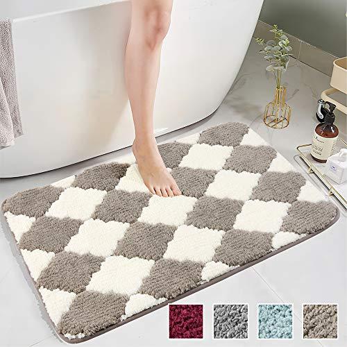 COSY HOMEER rutschfeste Badezimmermatte für das Badezimmer, wasserabsorbierend Weiche Mikrofaser Zottelige Badezimmermatte,100X60CM,Beige