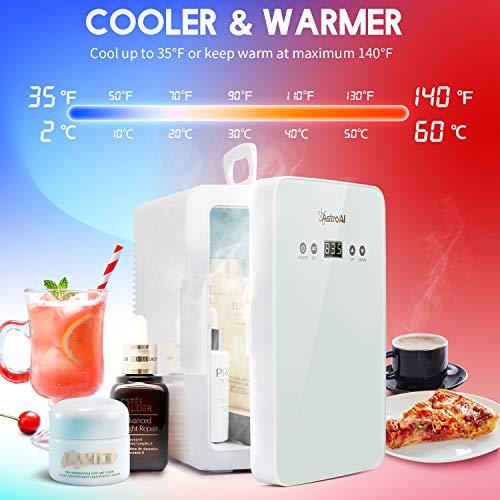 51SXcNYi6VL - AstroAI 6L Mini Nevera Pequeña Portátil 12 V/220 V para Coche y Casa, Tanto en Frío Como en Calor 0-66°C Enfriamiento y calentamiento (blanco)