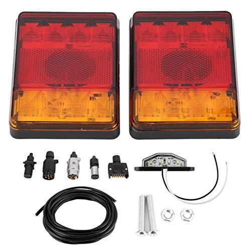 aqxreight - Luz trasera, 12V 8LED Conjunto de luz trasera universal cuadrada IP65 Luz trasera impermeable para camiones Remolque ATV (Rojo y amarillo)