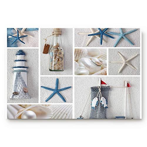Infinidesign Doormat Absorbs Mud Durable Anti-Slip Low Profile Entrance Bath Rugs Nautical Marine Lighthouse Sail Boat Beach Starfish Shell Sea Life,Large 32'x 20'