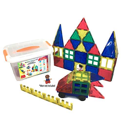 Bloques de construcción magnéticos │ 70 pzs: azulejos magnéticos XXL, ruedas de coche + caja fuerte de plástico de almacenamiento │Juego Educativo y creativo │ Gran regalo para niños mayores de 3 años